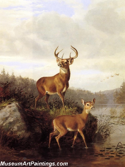 Landscape Painting Buck and Doe Deer