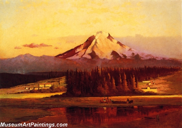 Landscape Painting Mt Rainier Sunset
