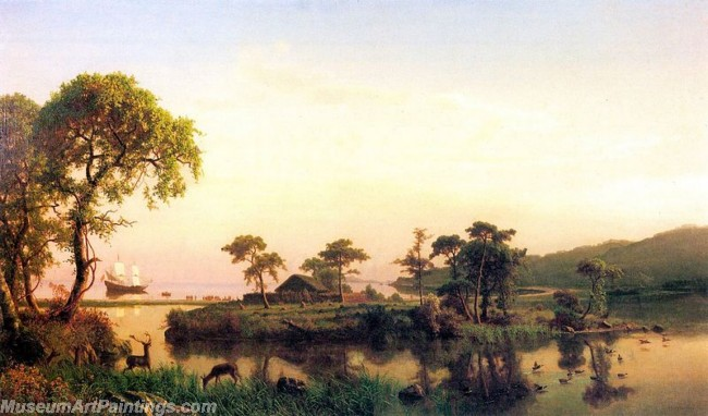 Landscape Paintings Albert Bierstadt Gosnold at Cuttyhunk