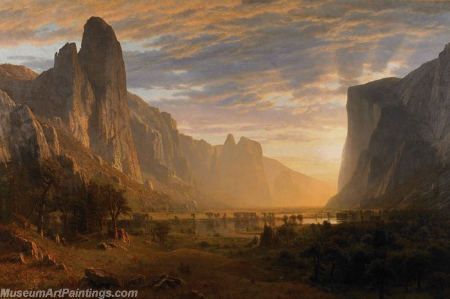Landscape Paintings Albert Bierstadt Looking Down Yosemite Valley