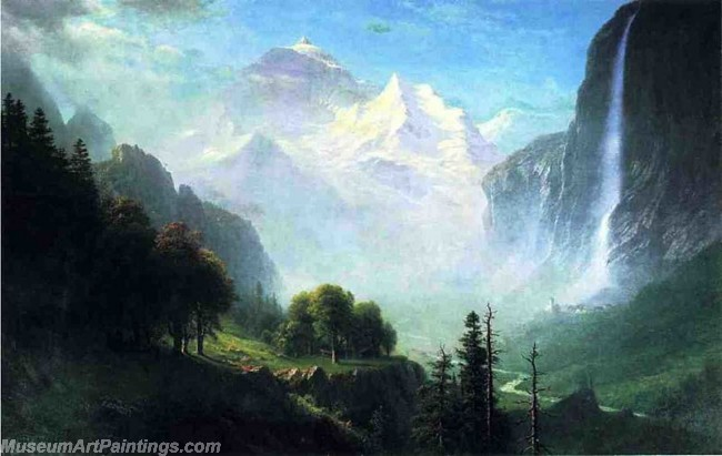 Landscape Paintings Albert Bierstadt Staubbach Falls Near Lauterbrunnen Switzerland