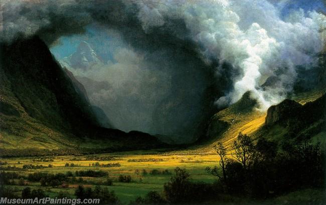 Landscape Paintings Albert Bierstadt Storm in the Mountains