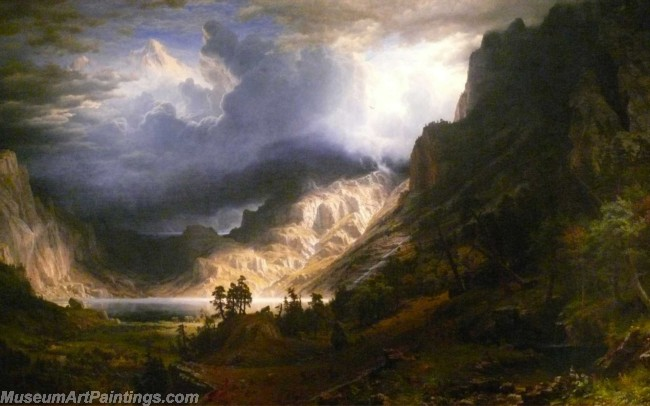 Landscape Paintings Albert Bierstadt Yosemite Valleystorm over the rocky mountains