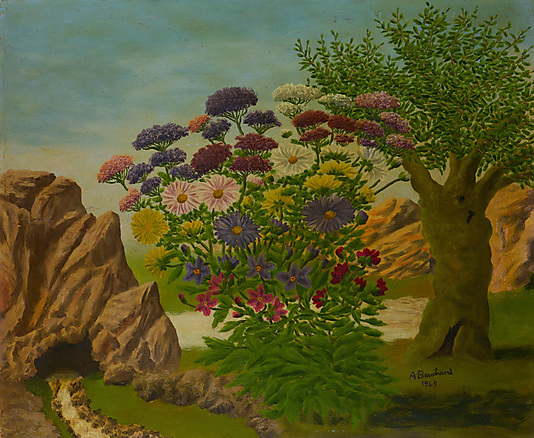 Landscape Paintings Bank of Flowers in a Landscape
