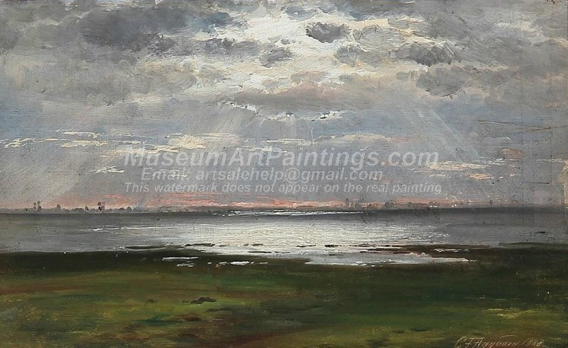 Landscape Paintings Coastal Landscape at Sunset