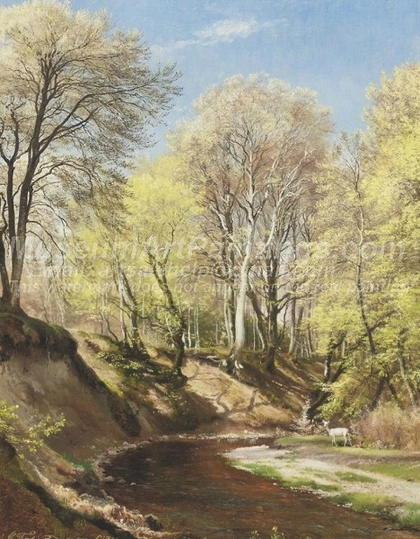 Landscape Paintings Deer at the Bend of the River