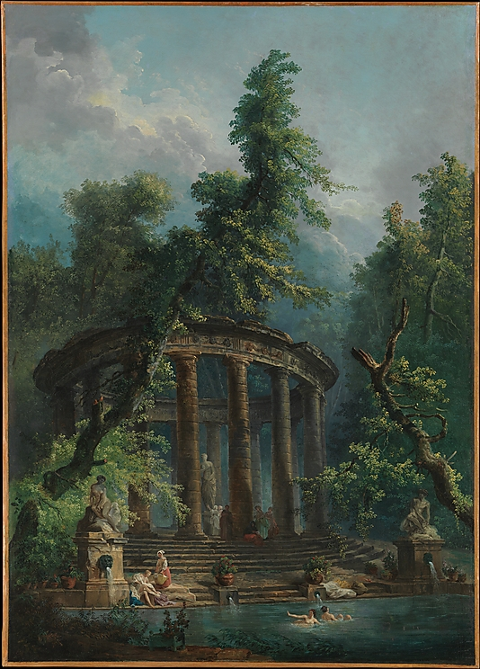 Landscape Paintings The Bathing Pool by Hubert Robert