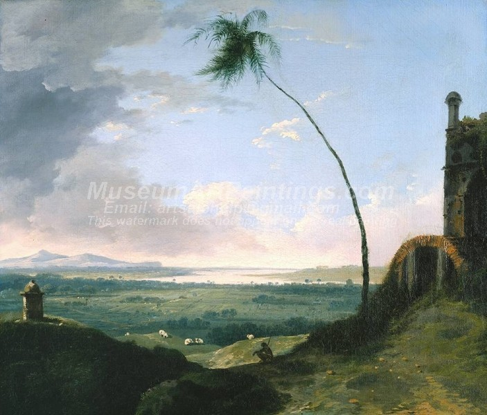 Landscape Paintings Tomb and Distant View of Rajmahal Hills