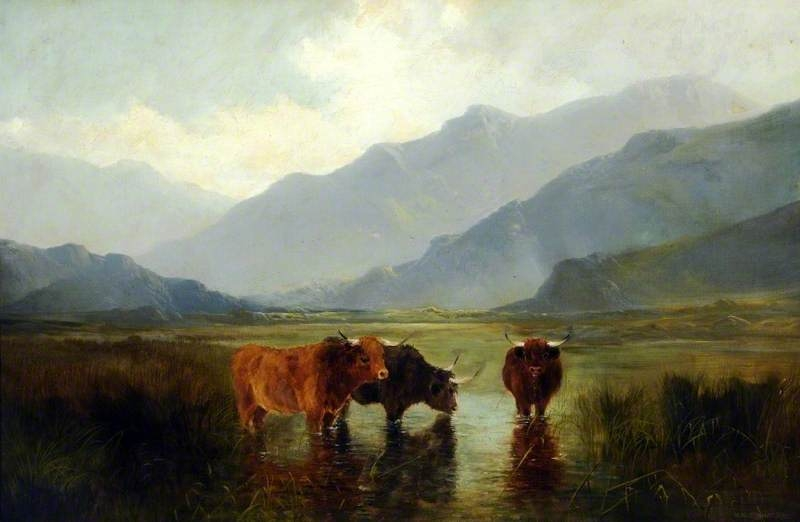 Landscape with Cattle by Henry William Banks Davis