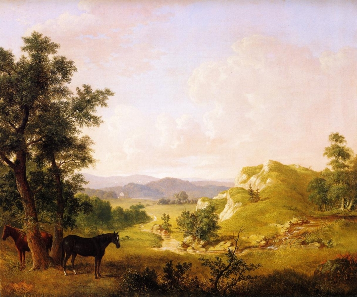 Landscape with Horses by Thomas Hewes Hinckley