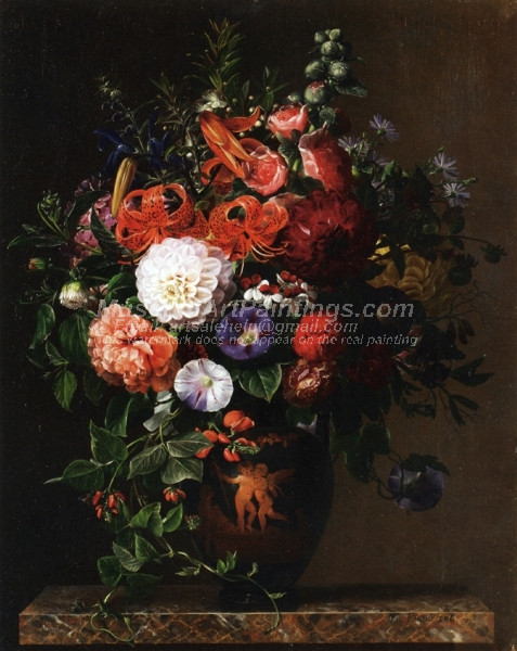 Lilies Peonies Violets and Roses in a Greek Figure Vase on a Marble Pedestal