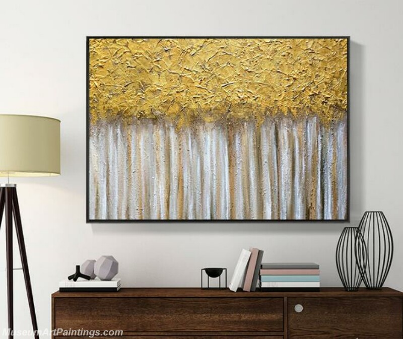Living Room Paintings for Sale Abstract Golden Tree Paintings 01