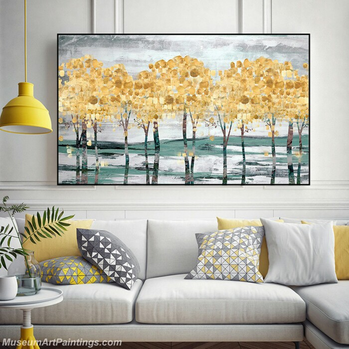 Living Room Paintings for Sale Abstract Golden Tree Paintings