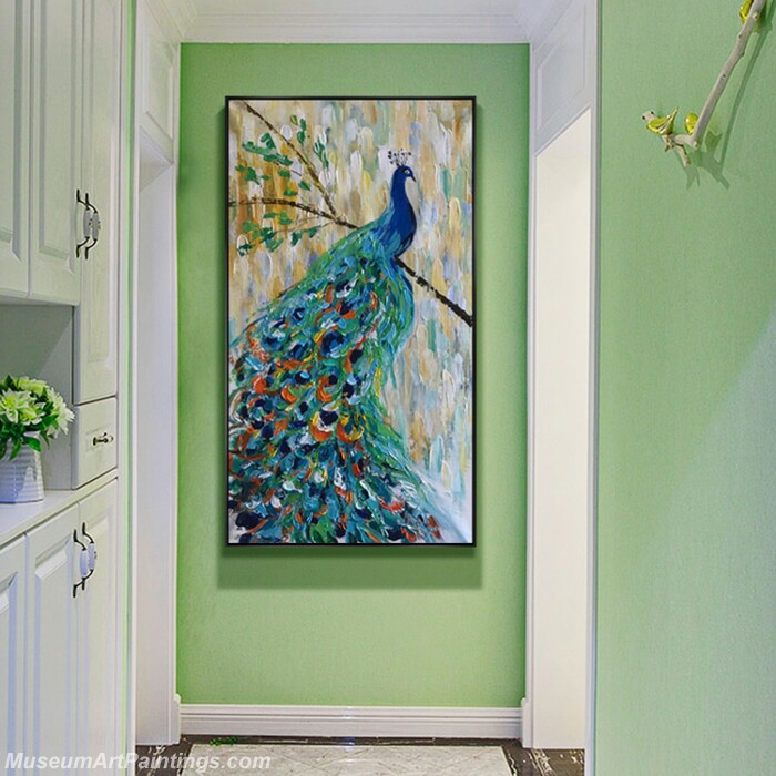 Living Room Paintings for Sale Blue Peacock Painting