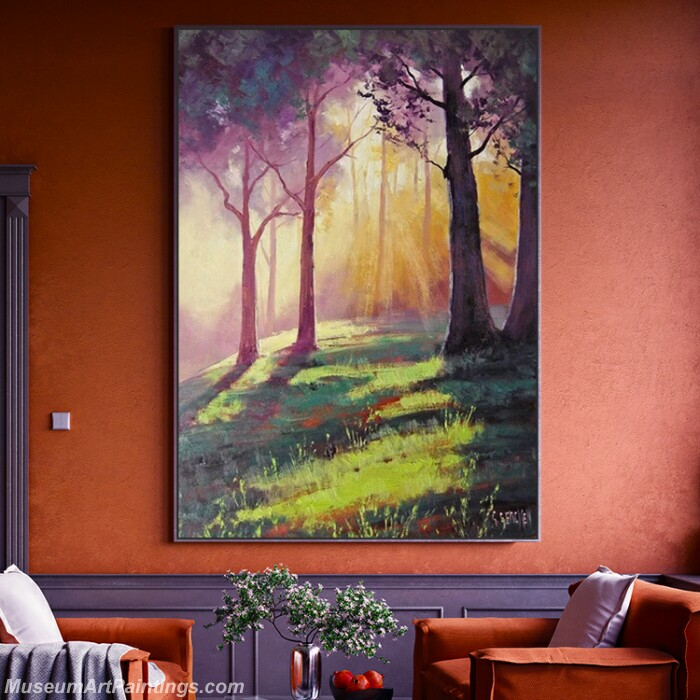 Living Room Paintings for Sale Forest Sunshine Landscape Painting