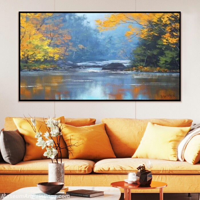 Living Room Paintings for Sale Golden autumn scenery Painting