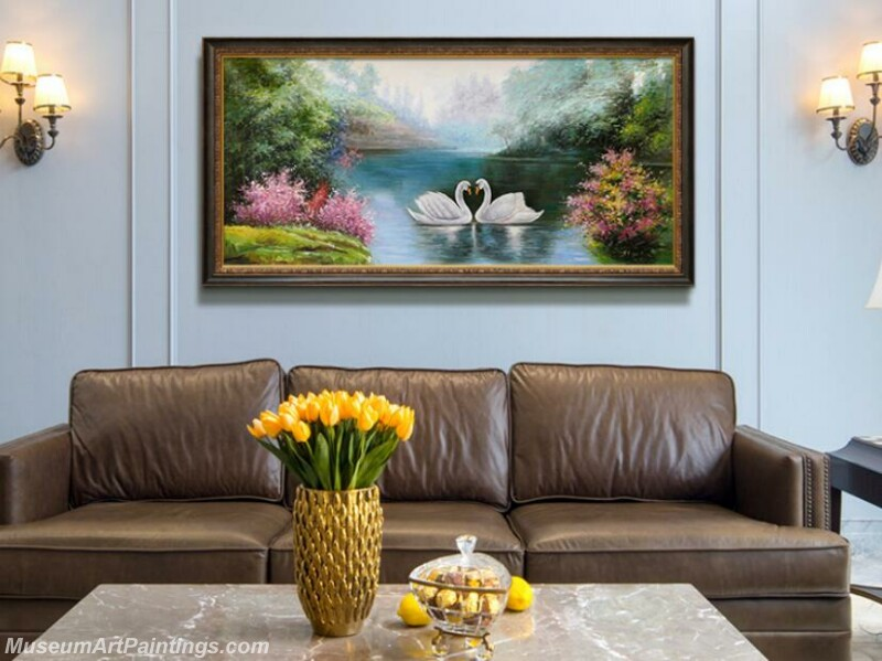 Living Room Paintings for Sale Swan Lake Landscape Painting