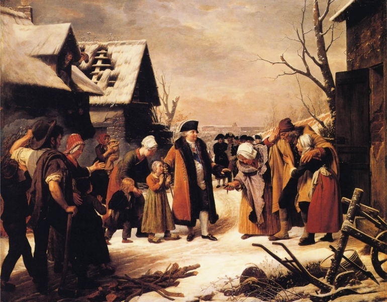 Louis XVI Distributing Alms to the Poor by Louis Hersent