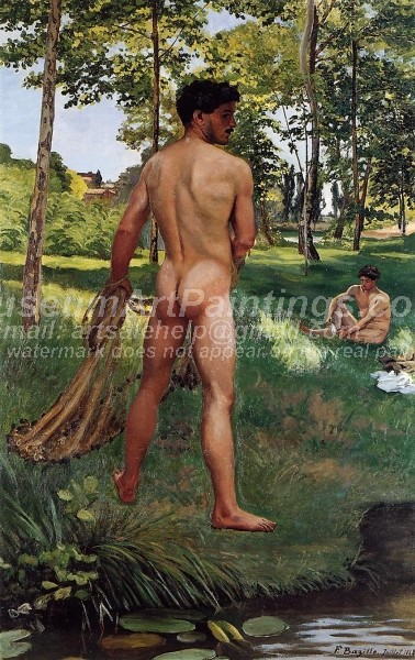 Man Nude Paintings Fisherman with a Net