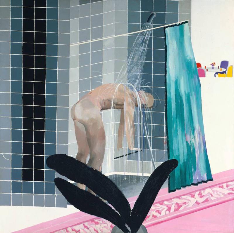 Man in Shower in Beverly Hills by David Hockney