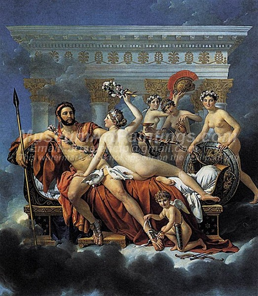 Mars Disarmed by Venus and the Three Graces Painting by Jacques Louis David