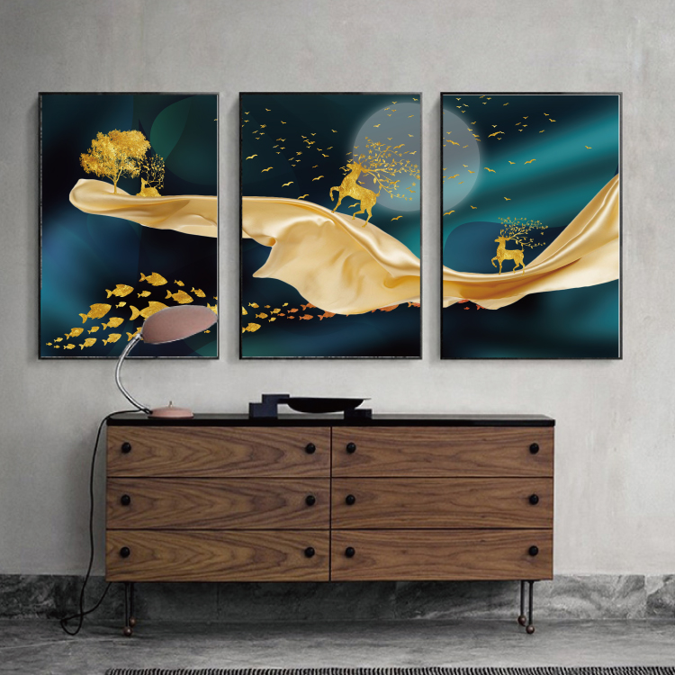 Modern Abstract Art Painting Gold Canvas Prints MAGC049