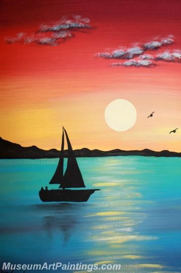 Modern Abstract Art Paintings Landscape Sunset MDA012