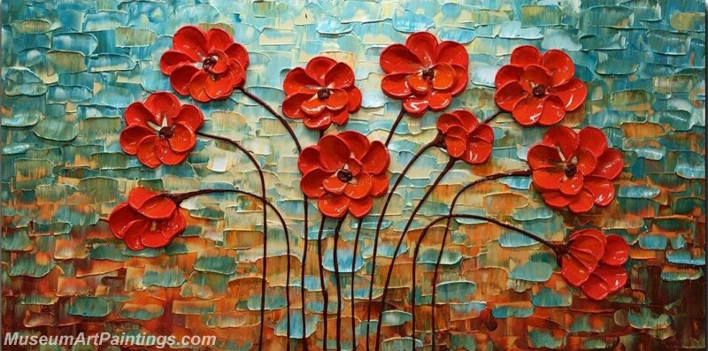 Modern Abstract Art Red Flowers Painting MAA25