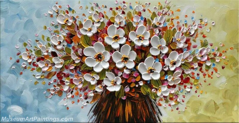 Modern Abstract Art White Flowers Painting MAA27