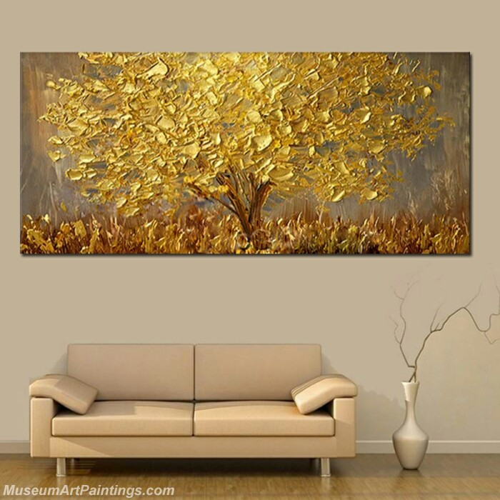 Modern Abstract Oil Paintings Golden Tree Painting for Living Room