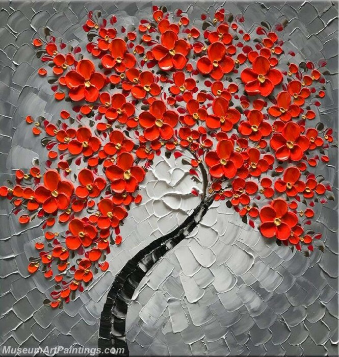 Modern Landscape Tree Painting Red Flower 01