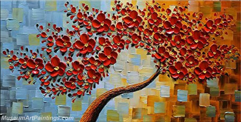 Modern Landscape Tree Painting Red Flower 02