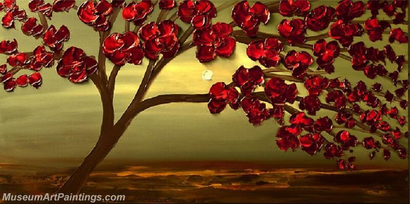 Modern Landscape Tree Painting Red Flower 03