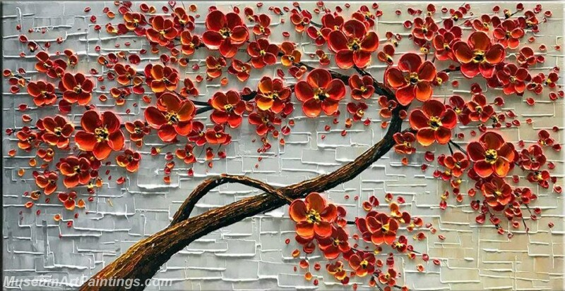 Modern Landscape Tree Painting Red Flower 04