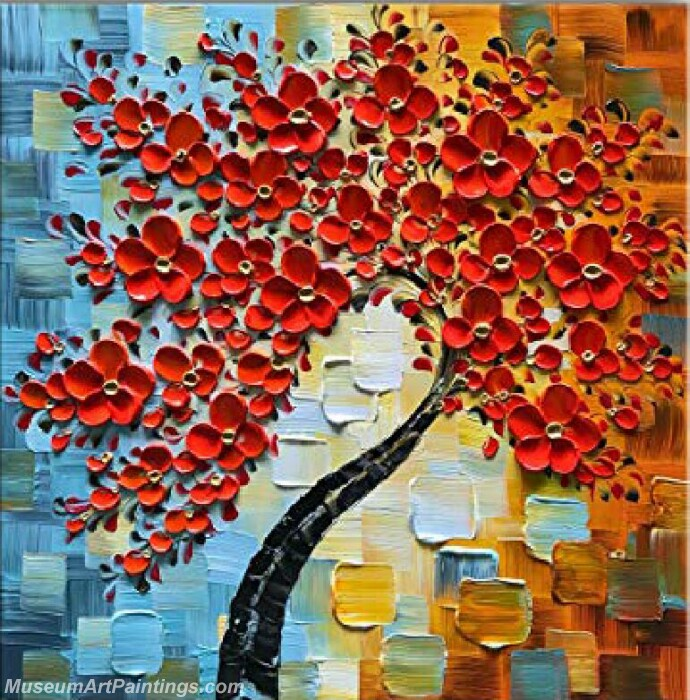 Modern Landscape Tree Painting Red Flower 05