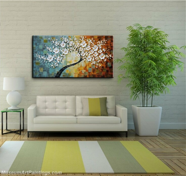 Modern Oil Paintings Palette Knife Tree Flowers Paintings for Living Room