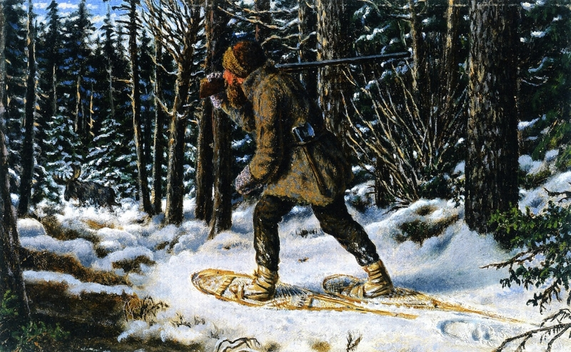 Moose Hunting Winter Manitoba by William George Richardson Hind