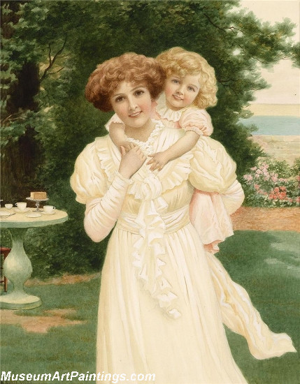 Mother and child in the garden Painting