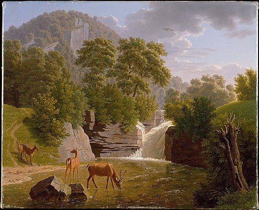 Mountain Landscape with Deer at a River Painting