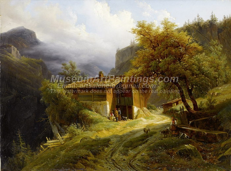 Mountain Landscape with farmhouse and figure by Francois Diday