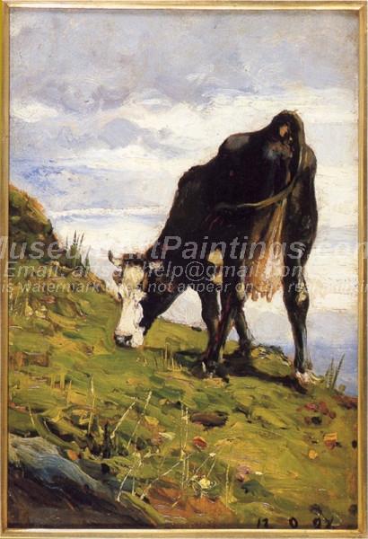 Mucca al pascolo by Lorenzo Delleani