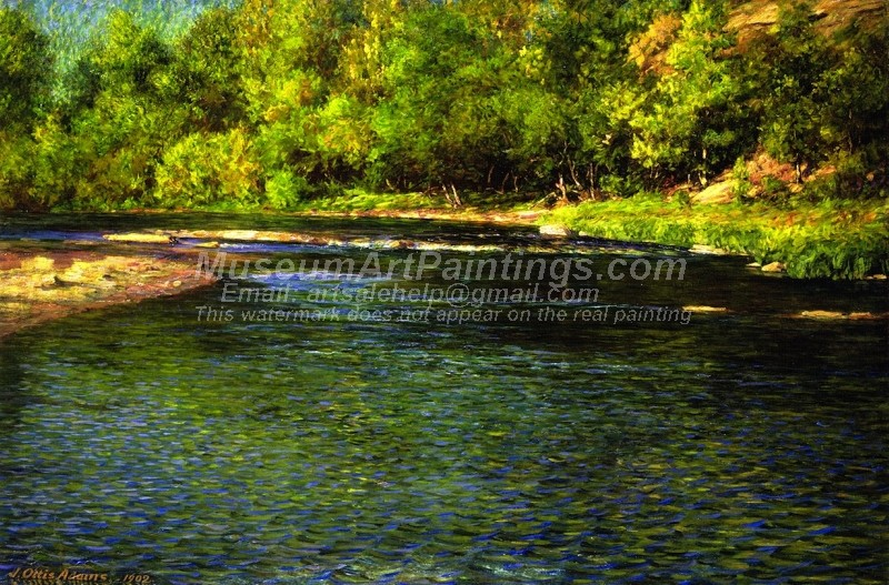 Natural Landscape Oil Paintings Iredescence of a Shallow Stream