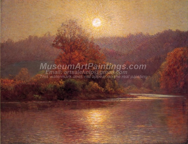 Natural Landscape Oil Paintings The Closing of an Autumn Day