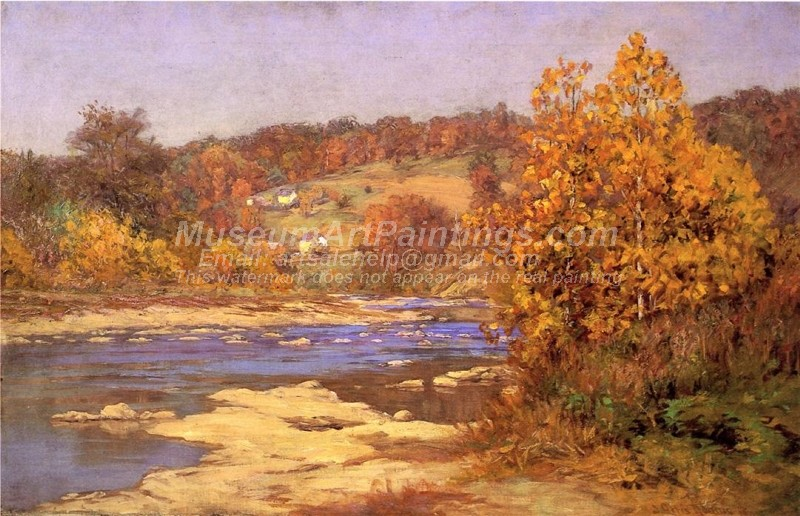 Natural Landscape Paintings Blue and Gold