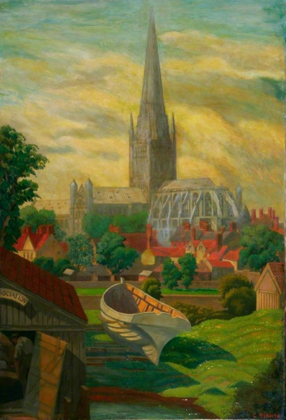Norwich Cathedral from Pulls Ferry Norfolk by Charles Ginner