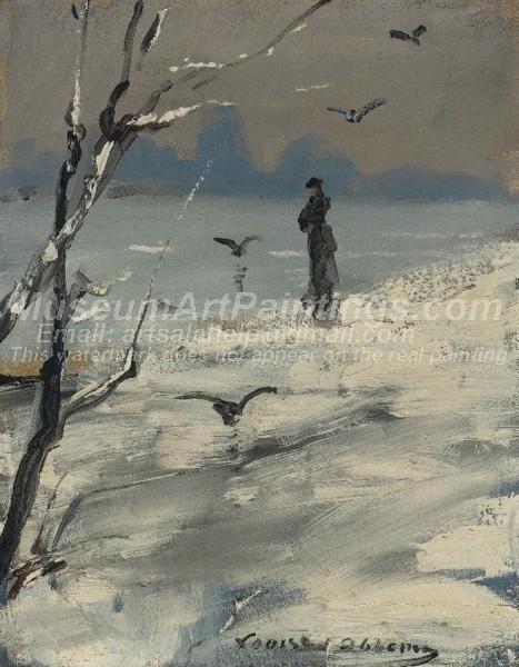 Oil Paintings Elegant Woman on a Winters Walk