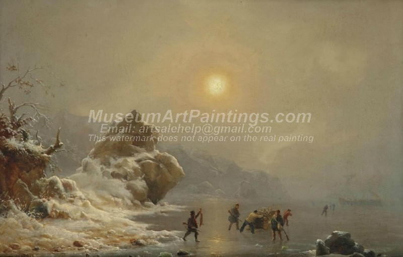 Oil Paitings A Winter Landscape with Hunters on the Ice