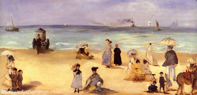 On the Beach at Boulogne Painting