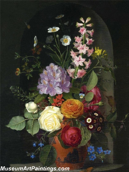 Otto Didrik Ottesen A Bouquet In A Wedgwood Rosso Antico Vase Set In A Niche