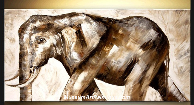 Palette Knife Oil Painting Elephant